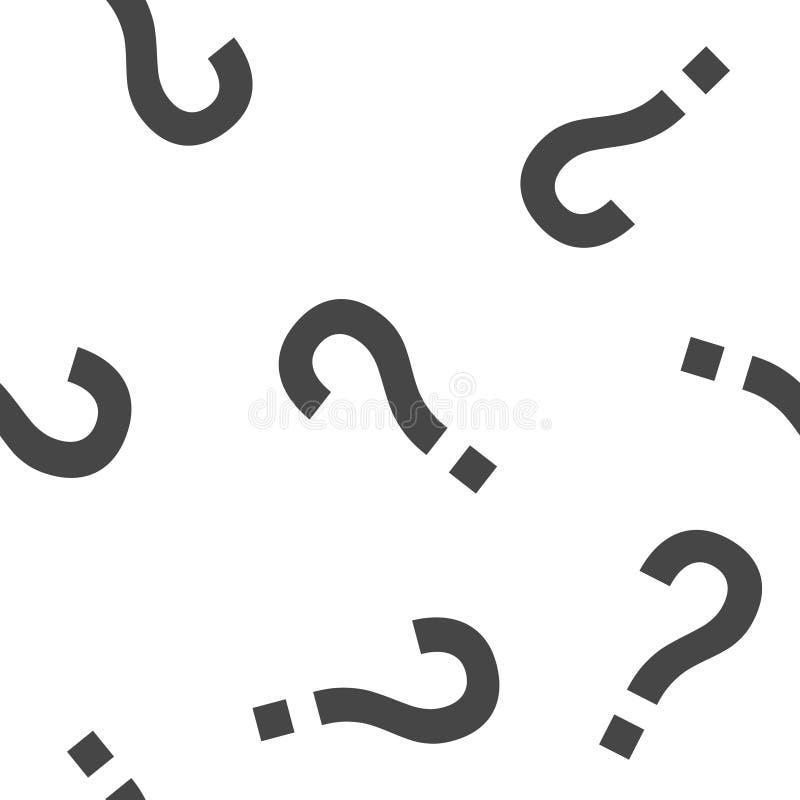 问号象 在白色背景的平的象问号无缝的样式 库存例证