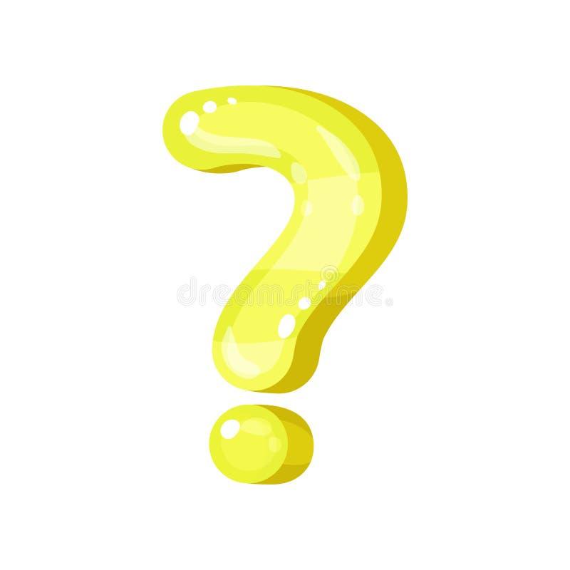 问号,在白色背景的黄色光滑的明亮的标点符号传染媒介例证 皇族释放例证