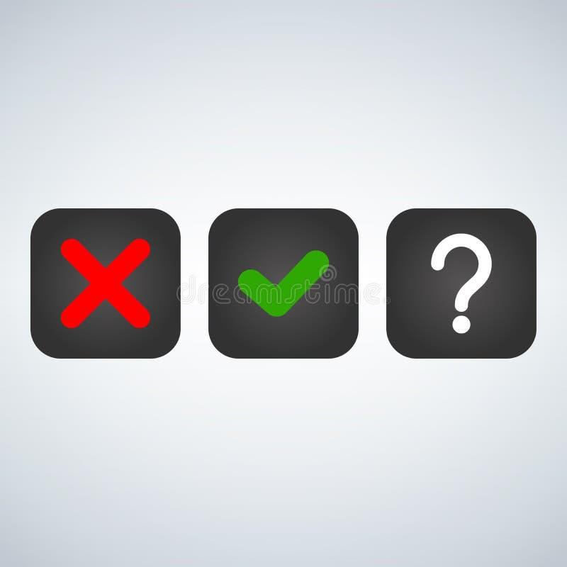 问题、红色X和绿色壁虱校验标志,认同标志设计 红色X和绿色好标志象在方形的复选框 选择o 库存例证