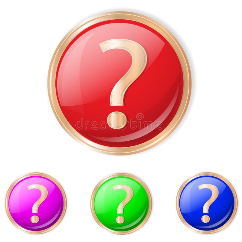 问题按钮的传染媒介例证 免版税库存照片