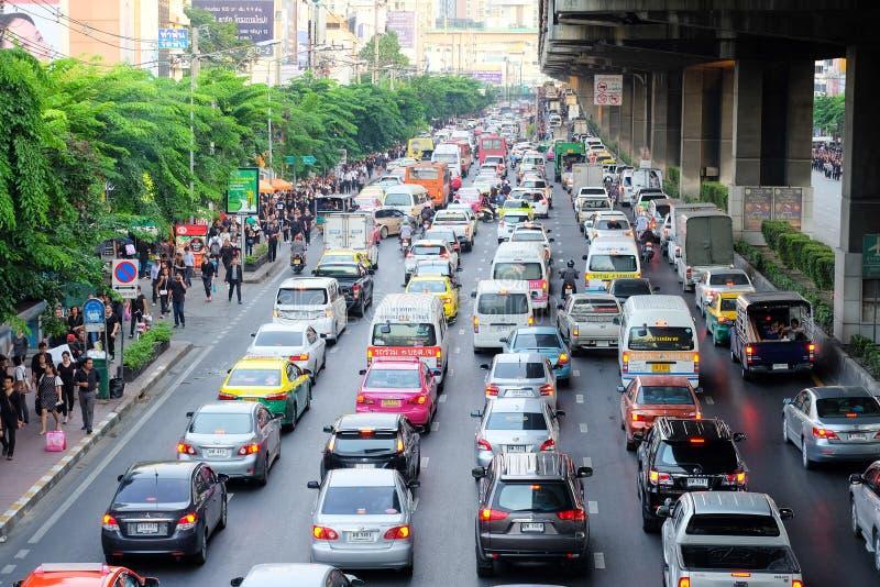 问题需要在曼谷解决的交通堵塞 免版税库存图片