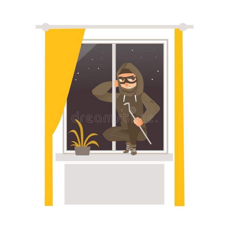 闯入房子的面具的窃贼通过窗口 库存例证