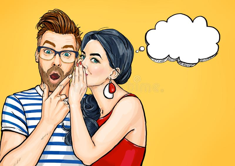 闲话夫妇 惊奇谈论某事的男人和妇女 流行艺术人交谈 向量例证
