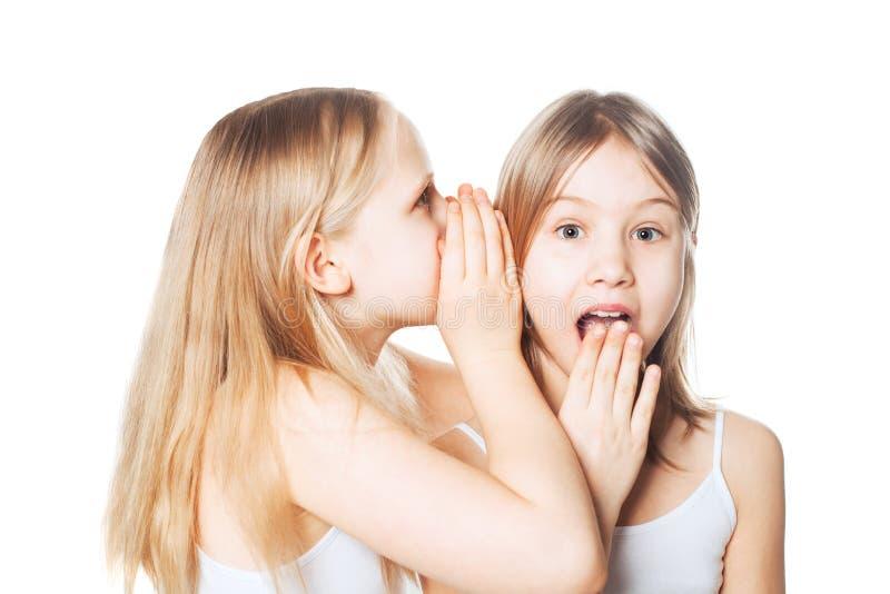 闲话 女孩对朋友秘密耳语 库存照片