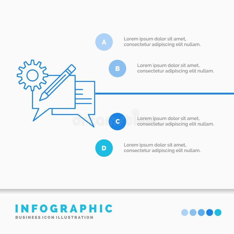 闲谈、通信、讨论、设置、消息Infographics模板网站的和介绍 r 向量例证