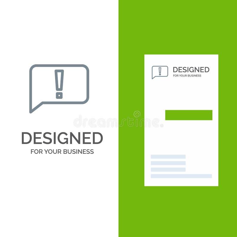 闲谈、错误、基本,Ui灰色商标设计和名片模板 库存例证