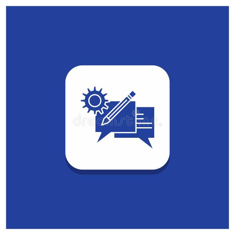 闲谈的,通信,讨论,设置,消息纵的沟纹象蓝色圆的按钮 向量例证