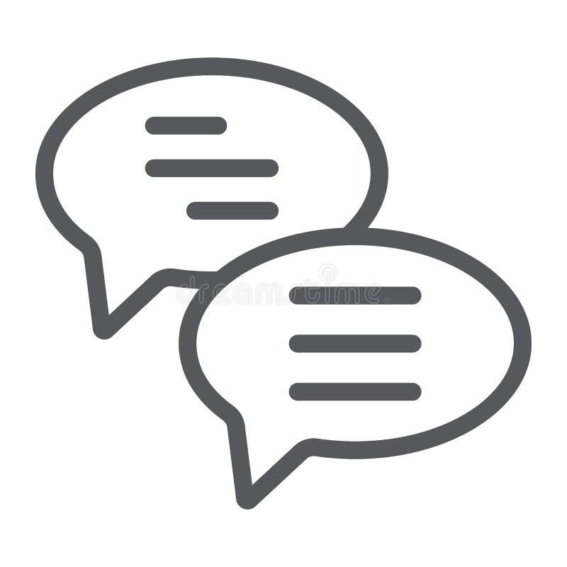 闲谈线象,消息和通信,讲话泡影签署,向量图形,在白色背景的一个线性样式 向量例证