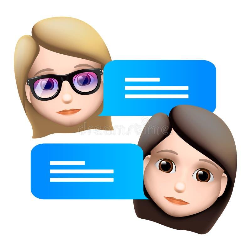 闲谈马胃蝇蛆妇女emoji概念 现代样式卡通人物象设计 对话帮助服务 隔绝在白色背景, 库存例证