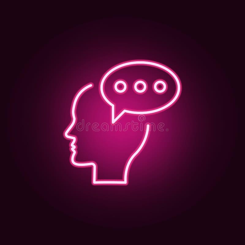 闲谈,评论,脑子霓虹象 创造性思为集合的元素 网站的简单的象,网络设计,流动应用程序,信息图表 库存例证