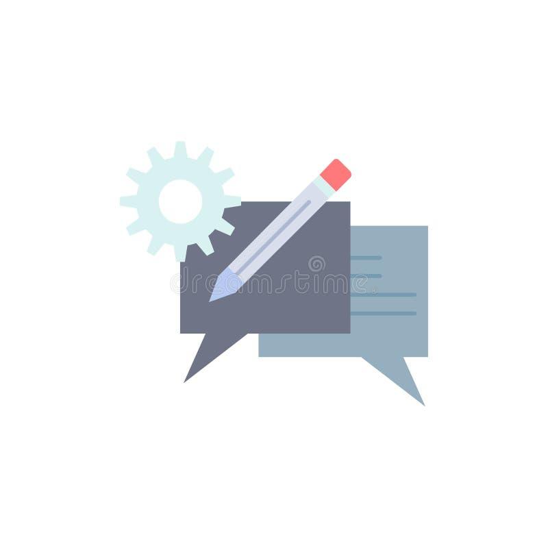 闲谈,通信,讨论,设置,消息平的颜色象传染媒介 库存例证