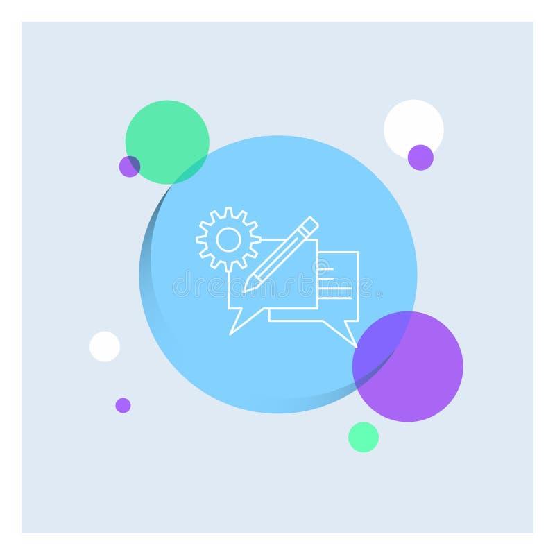 闲谈,通信,讨论,设置,消息空白线路象五颜六色的圈子背景 向量例证