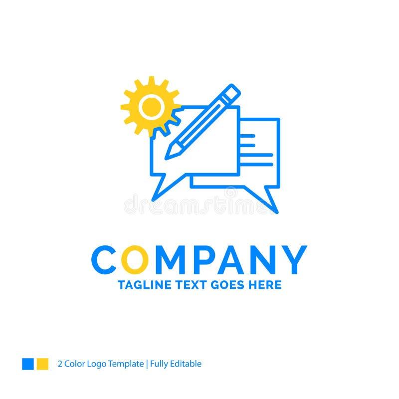 闲谈,通信,讨论,设置,消息蓝色黄色Bu 向量例证