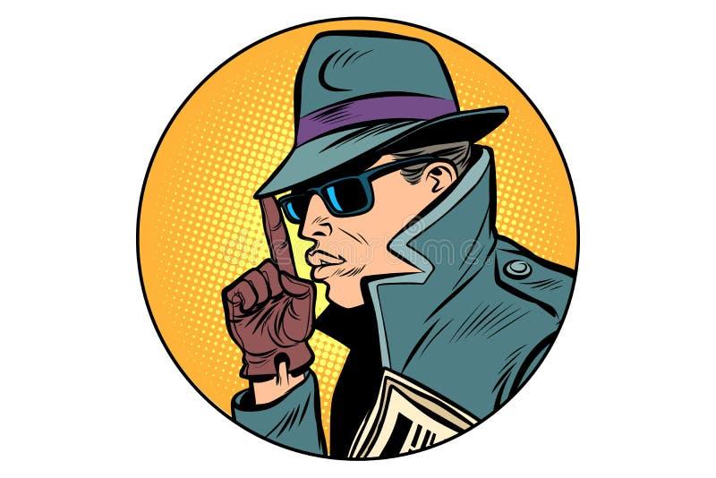 间谍侦探手指枪姿态 向量例证