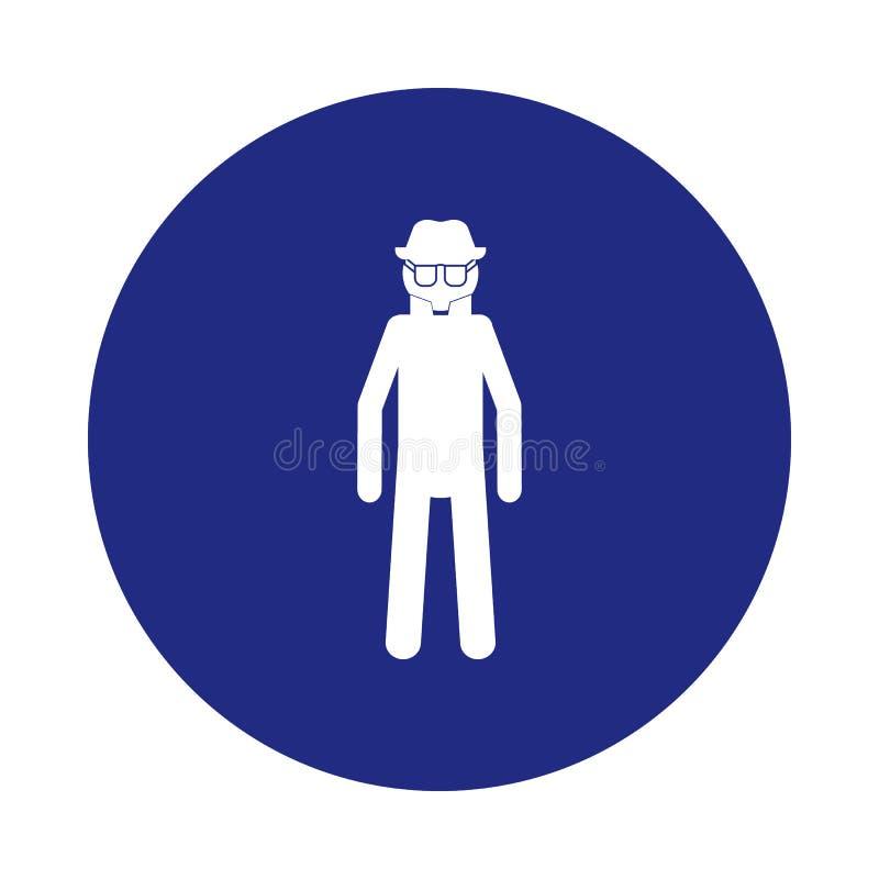 间谍象剪影在徽章样式的 一特勤汇集象可以为UI, UX使用 库存例证