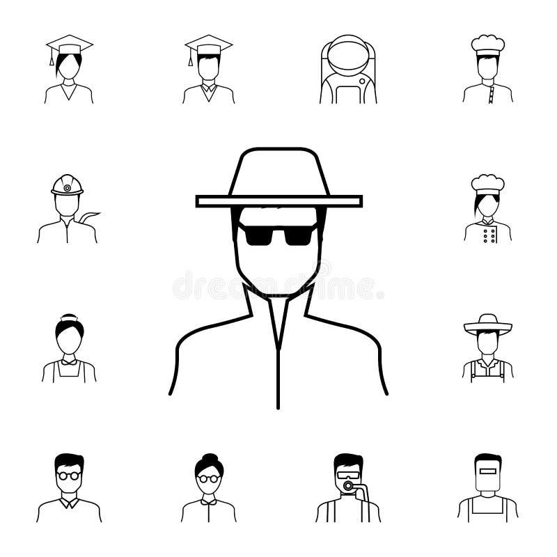 间谍象 详细的套Proffecions象 优质质量图形设计标志 其中一个网站的汇集象,网de 向量例证