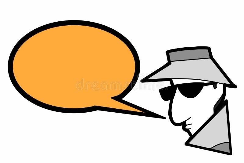 间谍黑客窃贼象例证动画片讲话泡影安全钥匙和间谍窃贼膝上型计算机屏幕例证图画的 库存例证