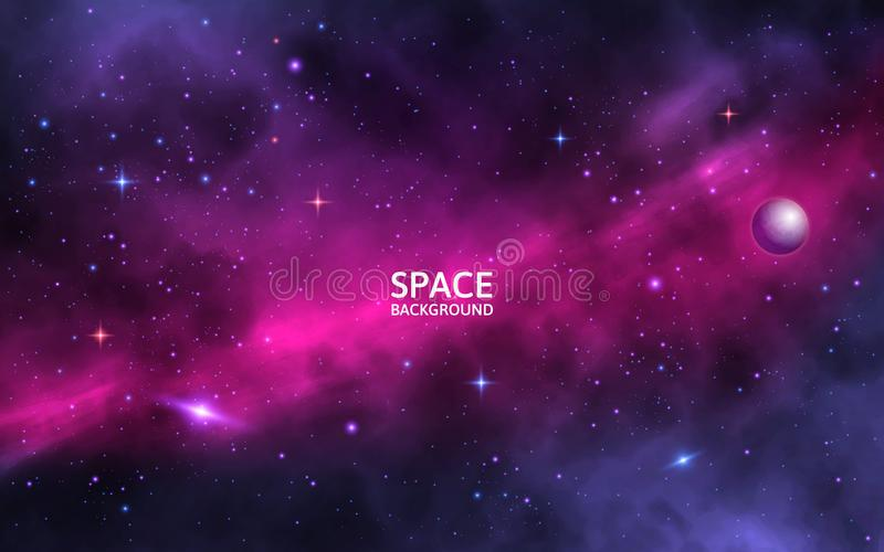 间隔与光亮的星、stardust和星云的背景 现实波斯菊 与银河和行星的五颜六色的星系 皇族释放例证