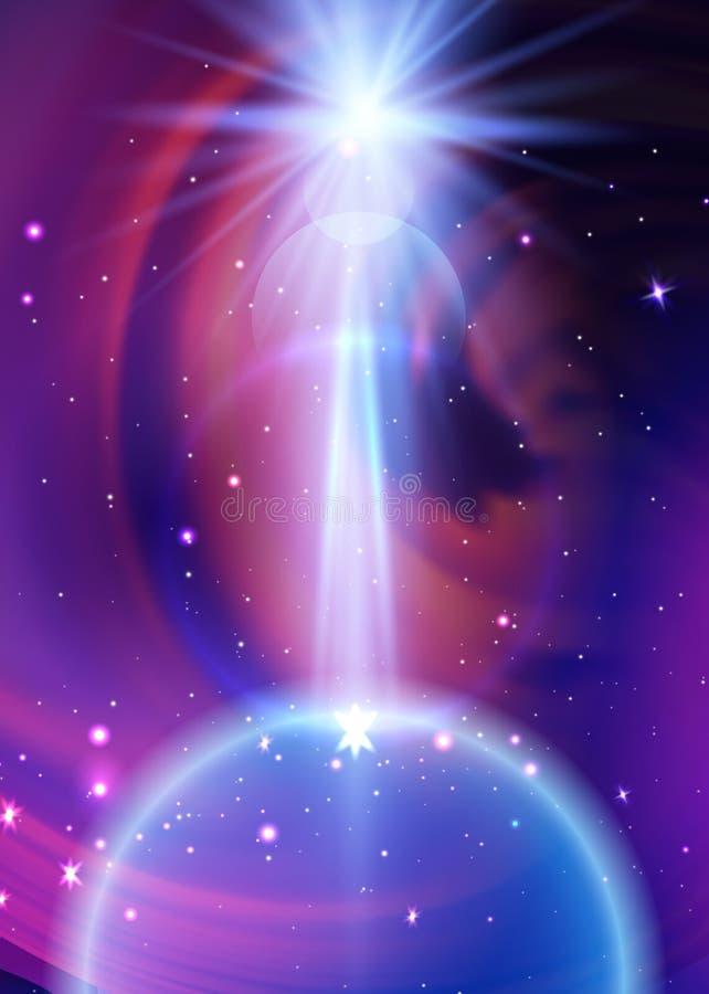间隔与地球、银河星云、stardust和明亮的光亮的星的星系背景 您的传染媒介例证 皇族释放例证