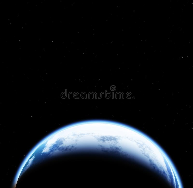 间隔与地球的场面在与星的黑背景 向量例证