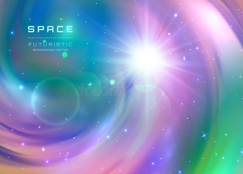 间隔与银河星云、stardust和明亮的光亮的星的星系背景 您设计新例证自然向量的水 皇族释放例证