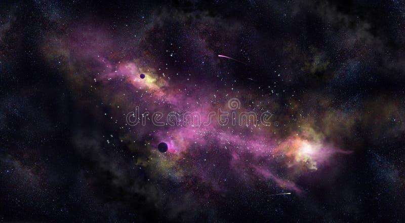 间隔Iillustration,与星云、雾和星 免版税库存图片