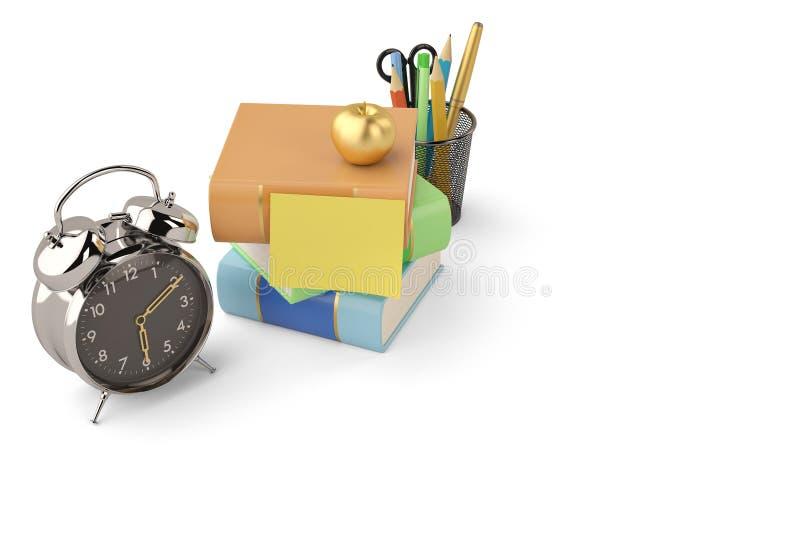 闹钟和书和笔罐在白色背景 3D illustra 皇族释放例证