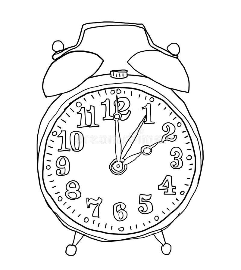闹钟手拉的逗人喜爱的线艺术例证 库存例证