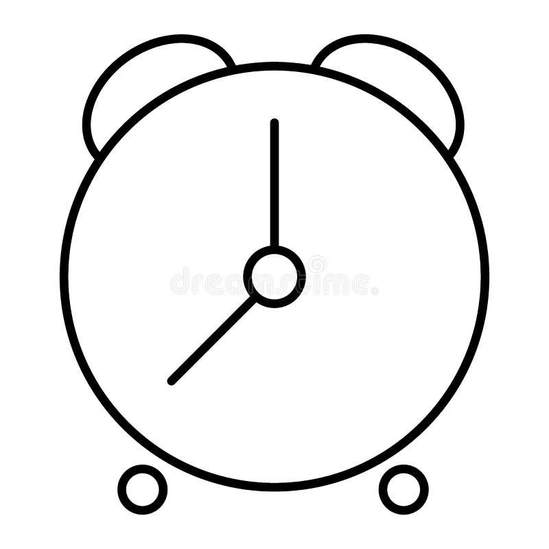 闹钟稀薄的线象 时间在白色隔绝的传染媒介例证 时钟纵的沟纹样式设计,设计为网和 向量例证