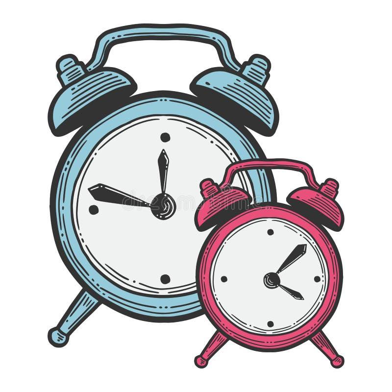 闹钟,指针式电子表 在乱画和剪影样式的传染媒介 向量例证