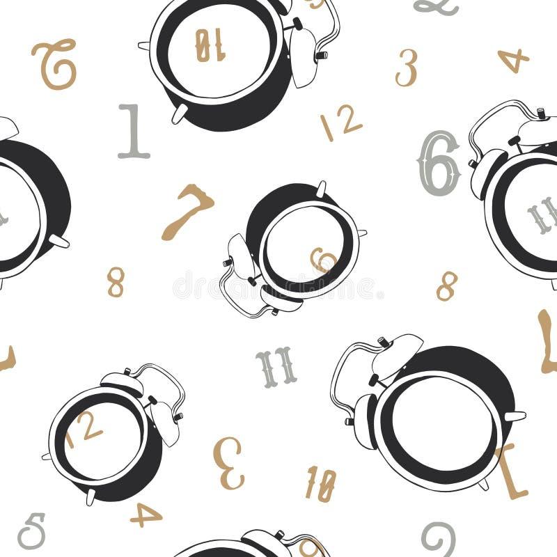 闹钟 失去的时间概念,无缝的样式传染媒介 向量例证
