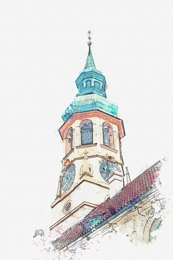 阁下的诞生的天主教会的水彩剪影或例证 loreta布拉格 库存例证