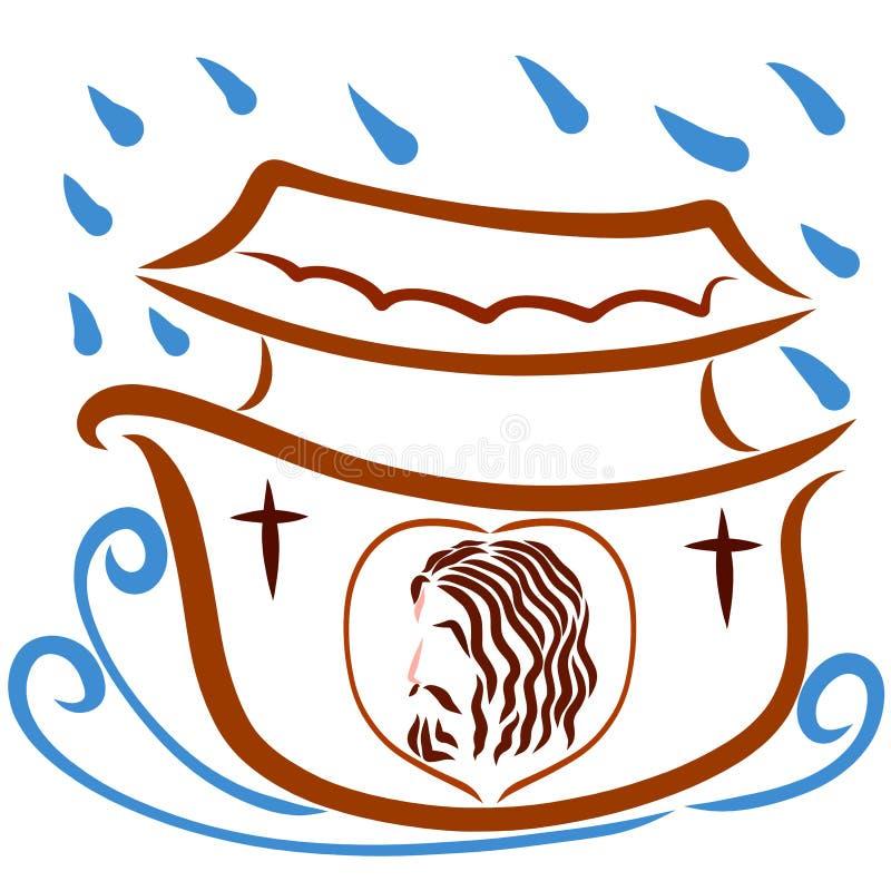 阁下耶稣的图象浮动平底船的 库存例证