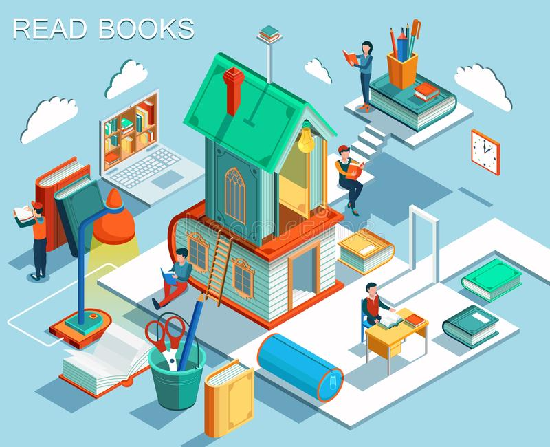 阅读书和学会的概念在图书馆里 等量平的设计 向量 向量例证