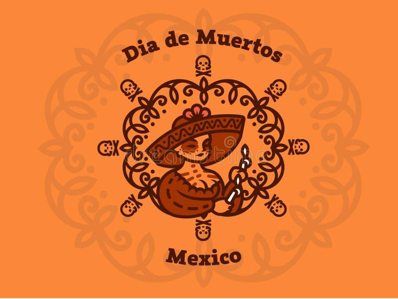 阔边帽的墨西哥女孩举蜡烛 向量例证