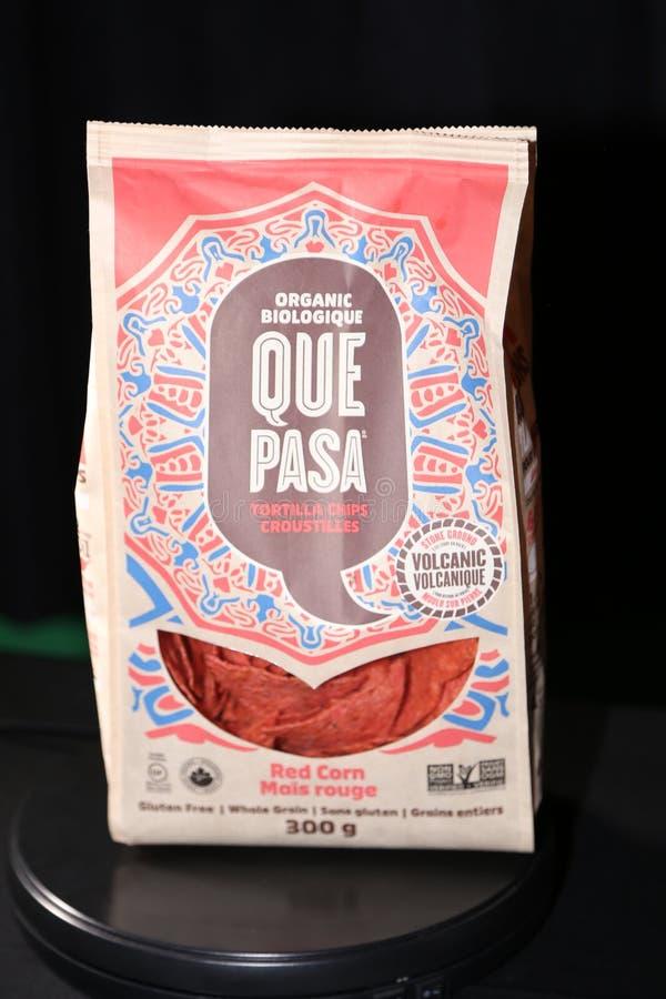 阙帕沙食物有机红色玉米粉薄烙饼芯片 免版税库存照片