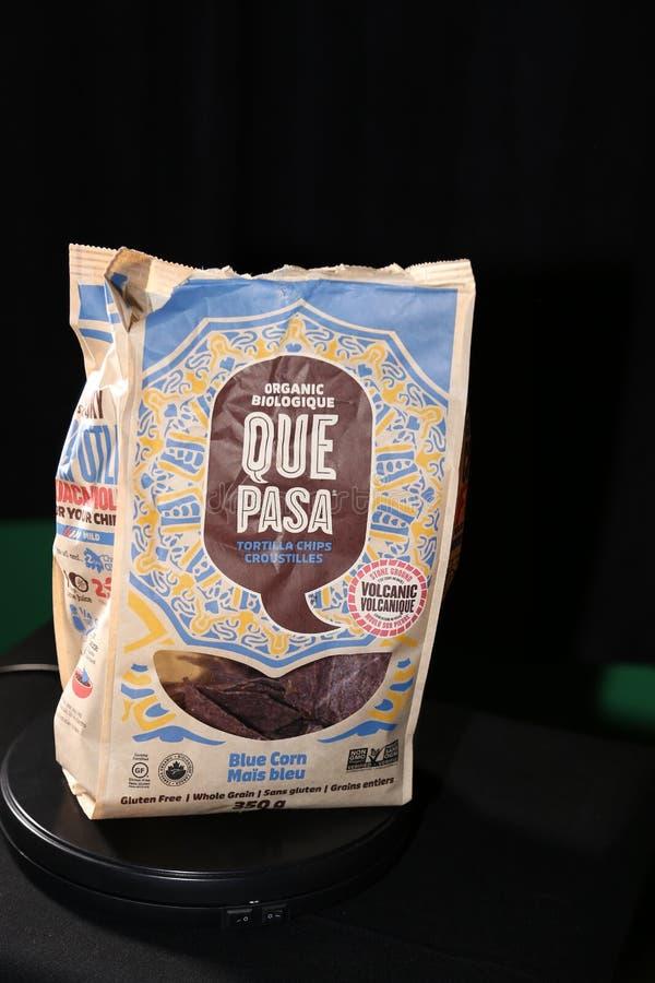 阙帕沙食物蓝色玉米粉薄烙饼芯片 免版税库存照片