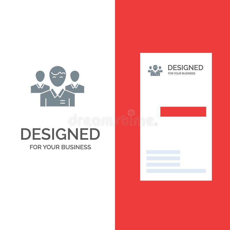 队、事务、Ceo、执行委员、领导、领导、人灰色商标设计和名片模板 皇族释放例证