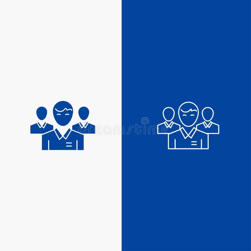 队、企业、Ceo、执行委员、领导、领导、人线和纵的沟纹坚实象蓝色旗和纵的沟纹坚实象蓝色 库存例证