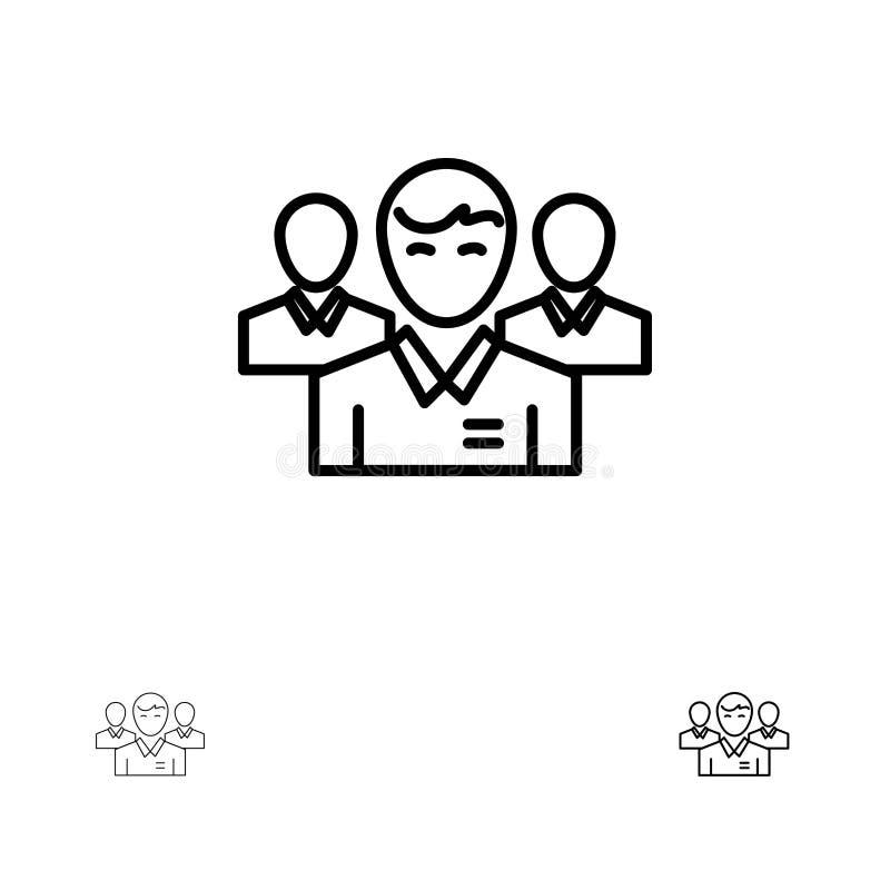 队、企业、Ceo、执行委员、领导、领导,人大胆和稀薄的黑线象集合 向量例证