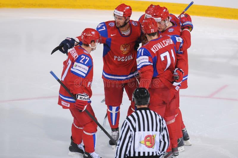 队俄罗斯冰曲棍球队 免版税库存图片