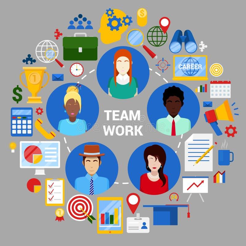 队工作创造性的计划战略公司业务 库存例证