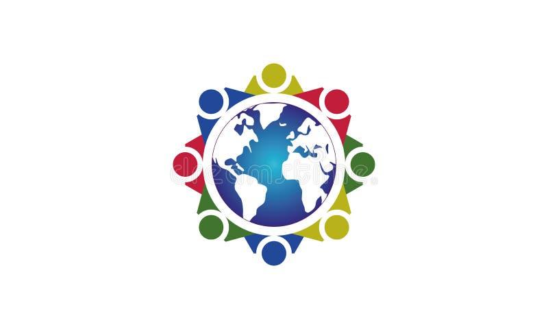 队工作商标环球-被环绕的地球和队工作联合人商标模板圆企业队团结的商标 库存例证
