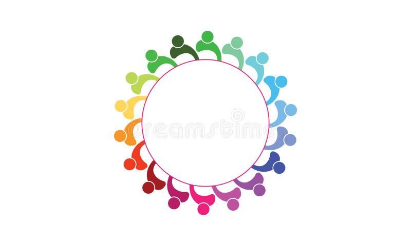 队工作商标-被环绕的队工作联合人商标模板圆企业队团结的商标 皇族释放例证