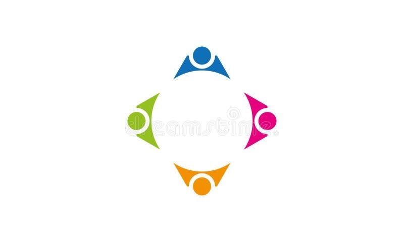 队工作商标-被环绕的队工作联合人商标模板圆企业队团结的商标 库存例证
