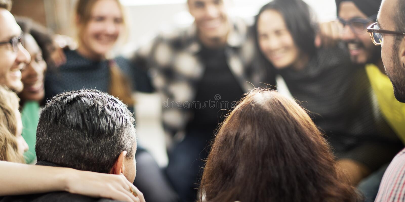 队杂乱的一团和谐统一性幸福概念 库存照片