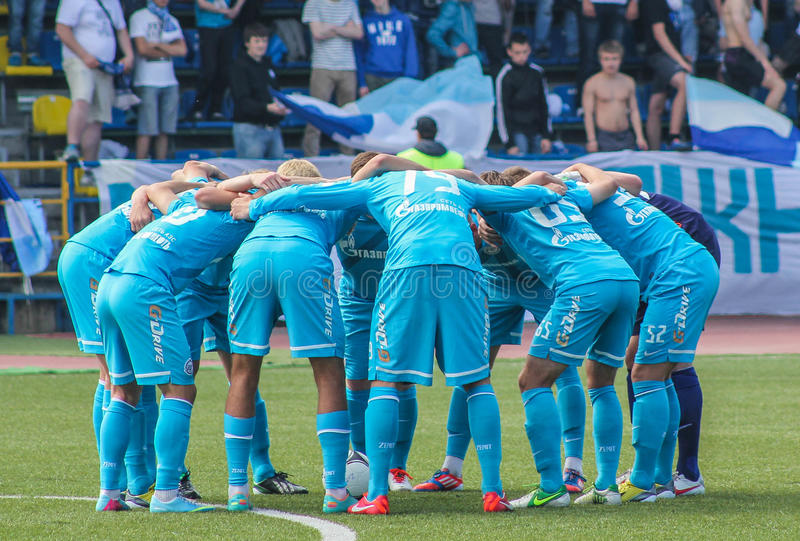 队的心情在足球比赛前的 免版税库存图片