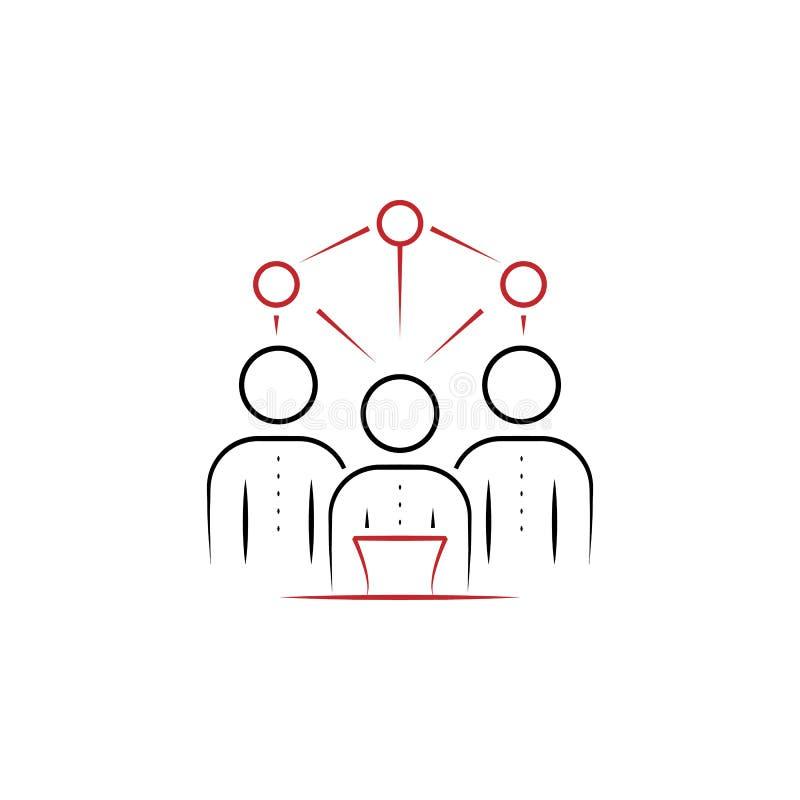 队的能力2上色了手拉的象 队色素例证 概述从团队工作集合的标志设计 库存例证