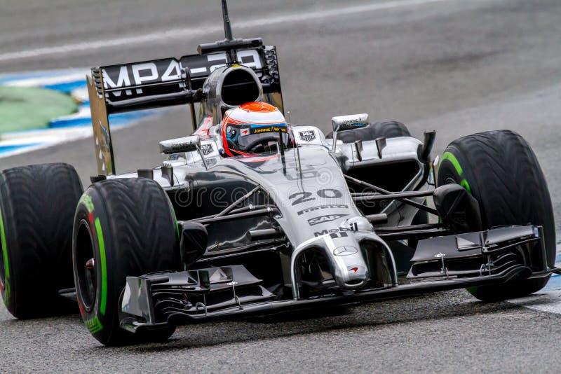 队迈凯轮F1,凯文Magnussen, 2014年 库存照片