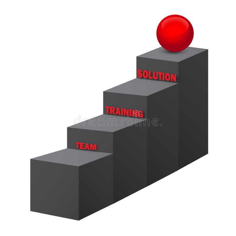 队,训练,解答台阶, 3d  向量例证